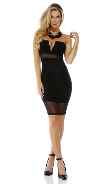After Hours Plunging V-neck Illusion Dress