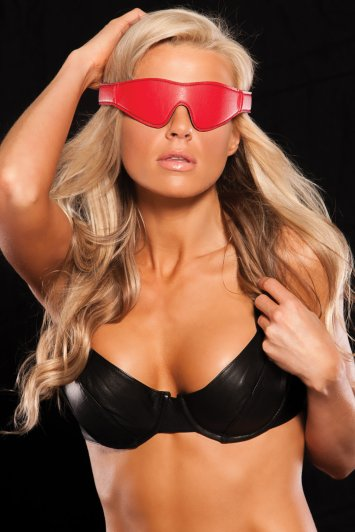 Bandeau Leather Mask Red