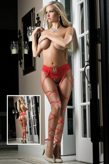 Basic Instinct Red Panty Stockings