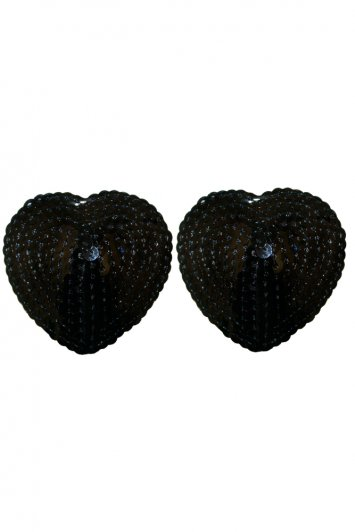 Black Heart Shaped Sequin Pasties
