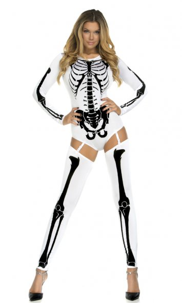 Bone-a-Fide Black Skeleton Bodysuit Costume