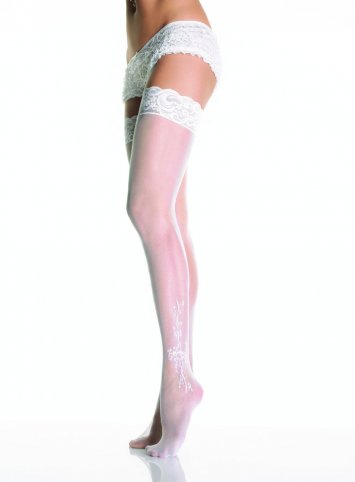 Bow Sheer Stocking With Lace Top