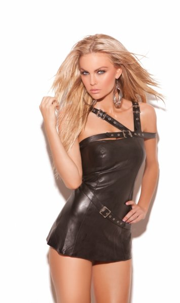 Buckle Strap Leather Mini Dress