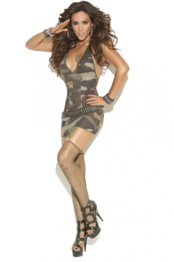 Camouflage Mini Dress and Stockings
