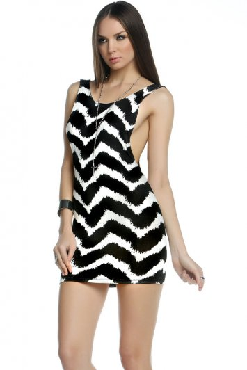 Charlotte Printed Low Cut Mini Dress