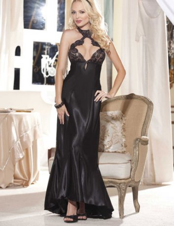 Charmeuse and Cut Out Lace Gown