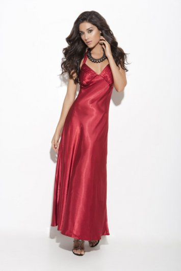 Charmeuse Halter Neck Gown