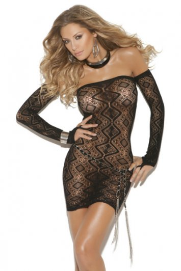 Diamond Net Dress and Gloves