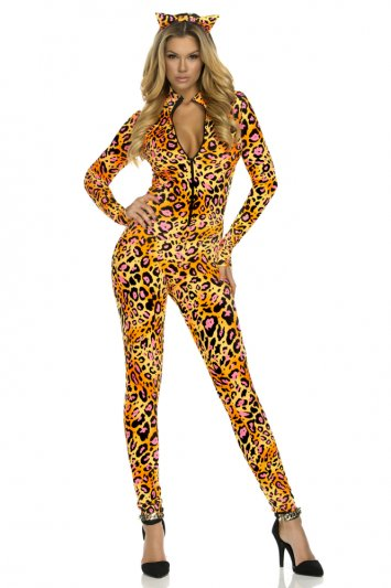 Electric Kitty Sexy Cat Jumpsuit Costume