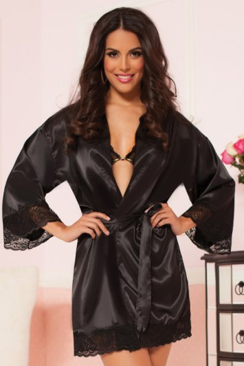 Enchanting Satin and Lace Robe