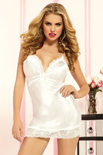 Enchanting White Satin Chemise And Thong