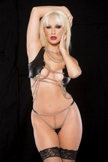 Faux Leather Chain Top and G-String