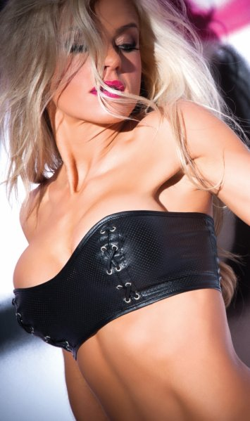 Faux Leather Tempt and Tease Bustier