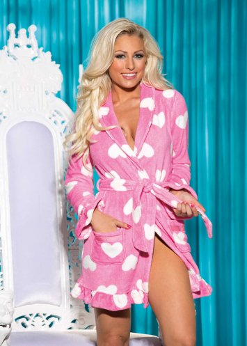 Fluffy Heart Pink Robe