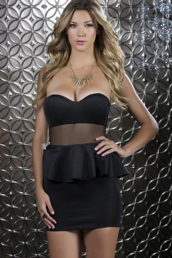 Glam Peplum Mesh Waist Dress