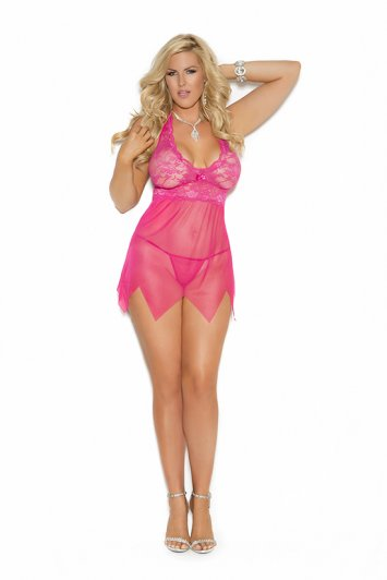 Lace And Mesh Raspberry Babydoll
