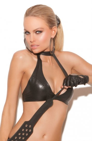 Leather Choker Halter Top