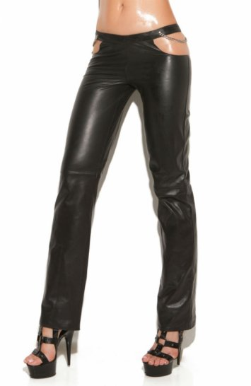 Leather Pants with Chain Cutout Sides
