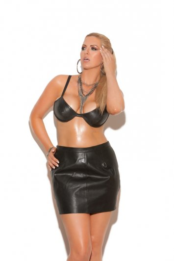 Leather Underwire Bra with Adjustable Straps