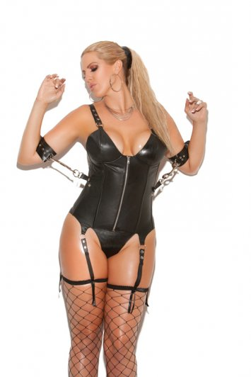 Leather Zip Front Corset With Underwire Cups