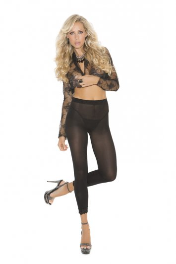 Leggings with Lace Trim