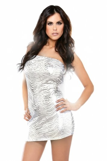 Metallic Swirl Tube Dress