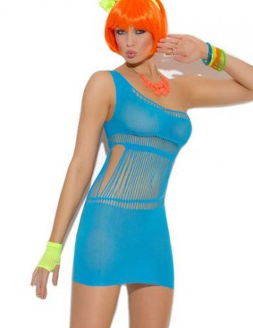 Neon One Shoulder Strappy Dress