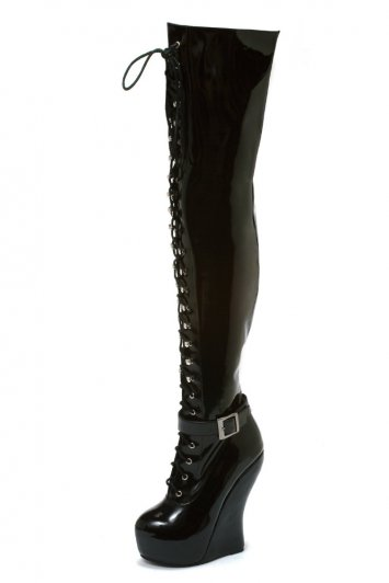 Ophelia Thigh High Lace-Up Wedge Boot