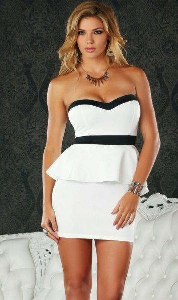 Pavia Strapless Peplum Dress