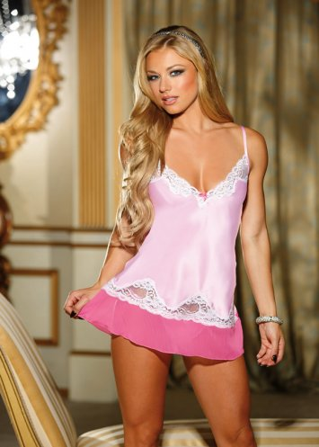 Pink-A-Boo Charmeuse Lace Chemise