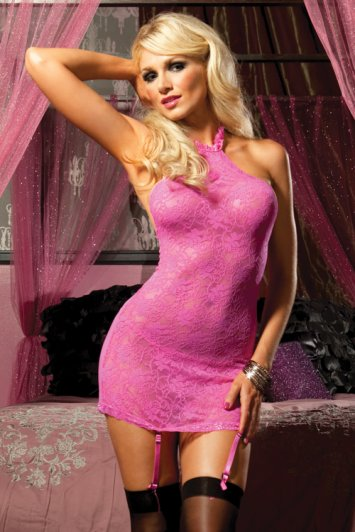 Pink Martini Lace Chemise And Thong