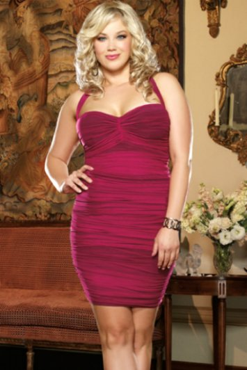 Plus Size After Dark Retro Style Ruched Dress