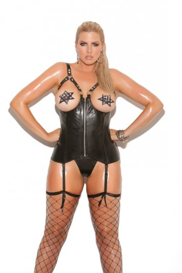 Plus Size Leather Open Bust Corset