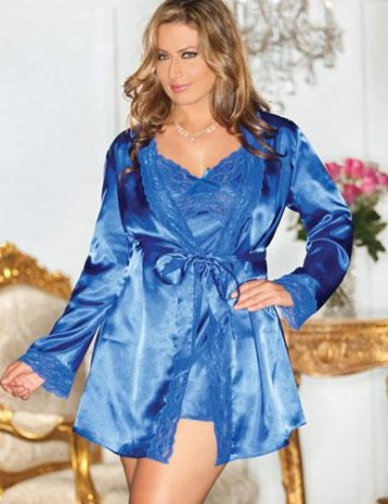 Plus Size Royal Satin Robe