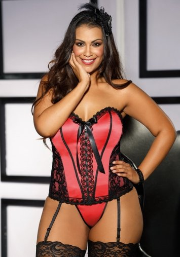 Plus Size Satin and Constast Lace Corset