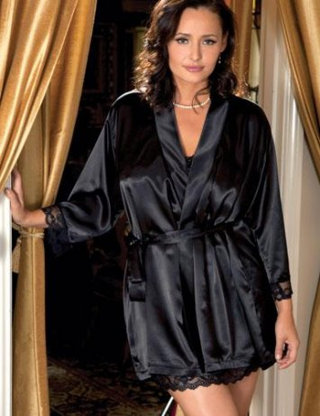 Plus Size Satin Lace Robe
