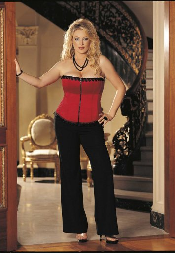 Plus Size Satin Venice Trim Zipper Corset