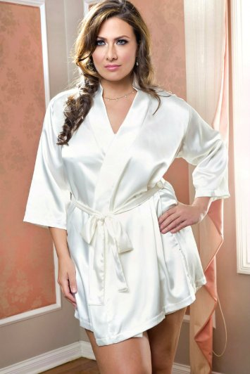 Plus Size Short Satin Robe