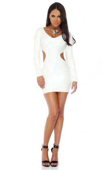 Polished Leatherette V-neck Bodycon Dress