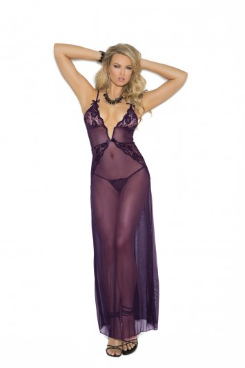Purple Mesh Long Gown