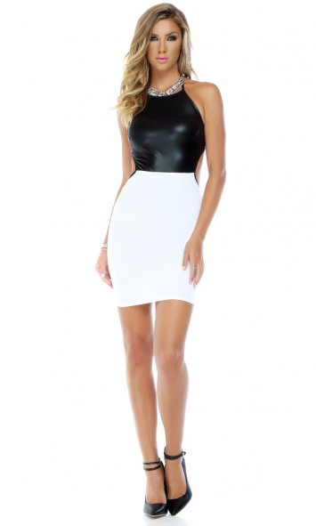 Refined Two Toned Matte Top Bodycon Dress