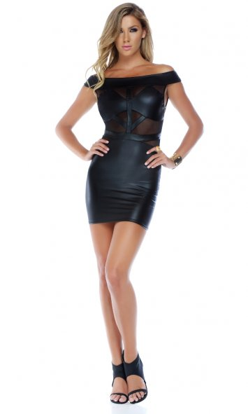 Rider Matte Finish Sleeveless Illusion Dress