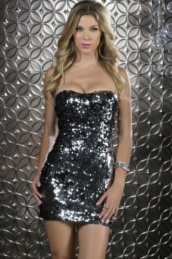 Salerno Strapless Sequin Dress