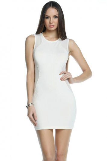 Sharp Mesh Side Panel Dress