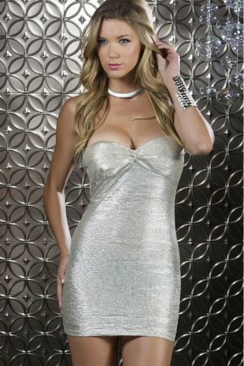 Shimmer Metallic Bandeau Mini Dress