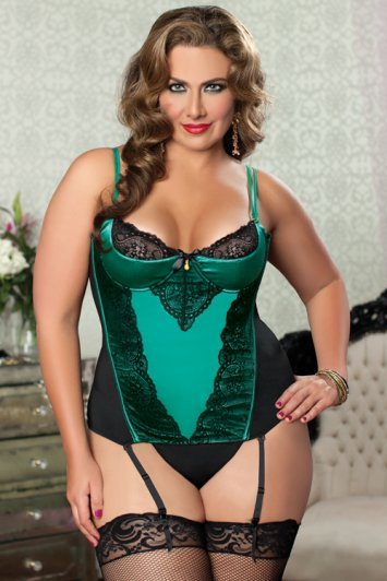 Simply Stunning Plus Size Green Bustier and Thong
