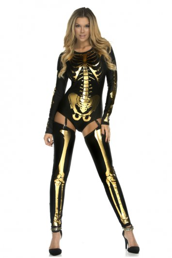 Skin & Bones Skeleton Gold Bodysuit Costume