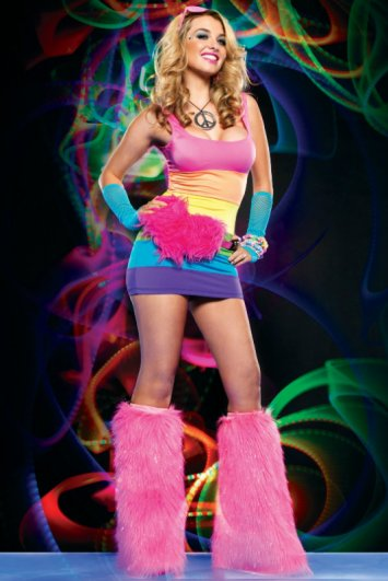 Spandex Rainbow Rave Mini Dress