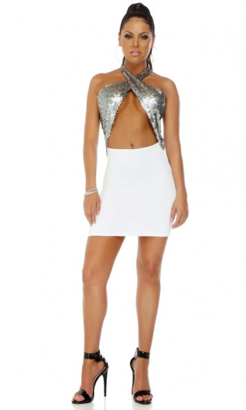 Spotlight Matte Sequin Detail Bodycon Dress