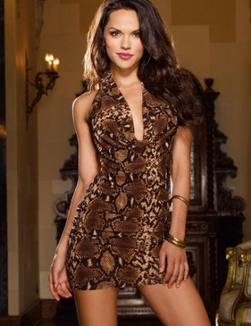 Strappy Snakeskin Mini Dress